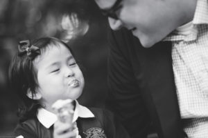 Black and white outdoor family photography