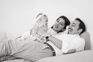 Black and white baby and family photography